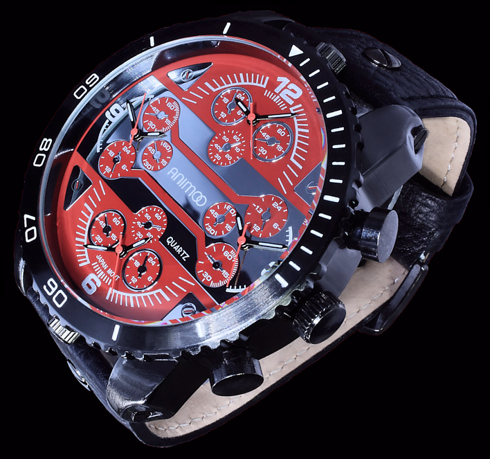 animoo xxl monster armband herren uhr schwarz rot 4 uhrwerke dual tri timer ebay. Black Bedroom Furniture Sets. Home Design Ideas