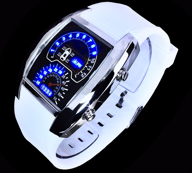 digital herren uhr armbanduhr blaue led 39 s tachometer optik blaues licht wei ebay. Black Bedroom Furniture Sets. Home Design Ideas